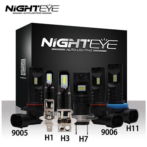 NIGHTEYE Car LED Fog Light H1 H3 H7 H11 9005/HB3 9006/HB4 Fog Lamp 160W 1600LM 6500K Auto Driving Fog Bulbs CSP Chip