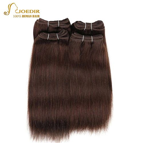 Joedir Pre-colored Brazilian Straight Hair 4 Pcs One Pack 190 Gram Brazilian Yaki Human Hair Bundles Weave Color 4# Non Remy