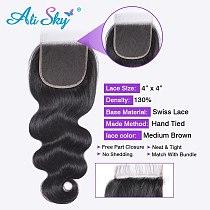 Alisky Body Wave Lace Closure 4x4 Transparent hd Lace Closure HD Lace Frontal Brazilian Remy Hair 4x4 Closure Human Hair Closure