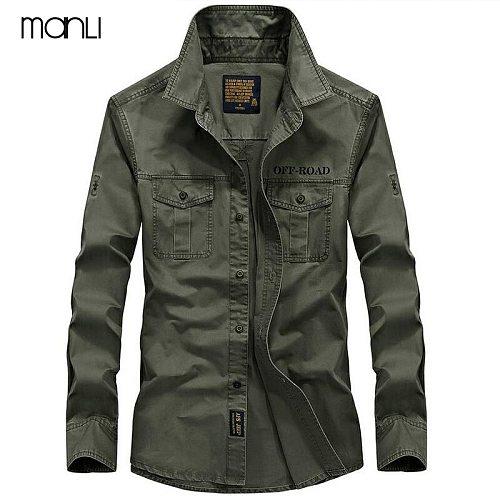 MANLI Men's Shirts Breathable 2020 Fall Warm Business Men Long Sleeve Shirt 100% Pure Cotton Sports Hiking Shirts 7XL