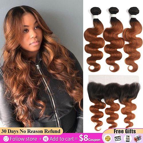 Ombre Brown Bundles With Frontal 13x4 SOKU Brazilian Body Wave Hair Bundles With Closure Non-Remy Human Hair Weave Bundles