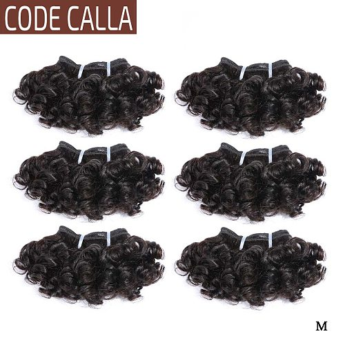 Code Calla Bouncy Curly Hair Bundles Double Draw Indian 6inch Short Cut Remy Human Hair Extensions Natural Black Brown Color