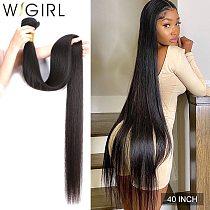 Wigirl Straight 28 30 32 40 Inch Remy Brazilian Hair Weave Human Hair Bundles Natural Color 100% Human Hair Extension