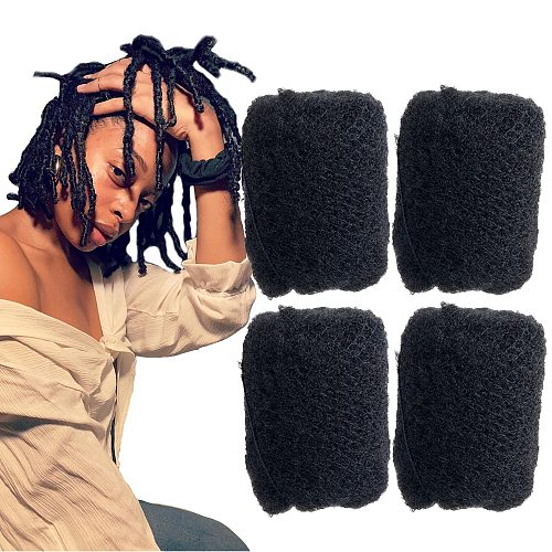 YONNA 4Pcs/Lot Tight Afro Kinky Bulk Hair 100% Human Hair For Dreadlocks,Twist Braids Jet Black Colour #1 Length 8 -26