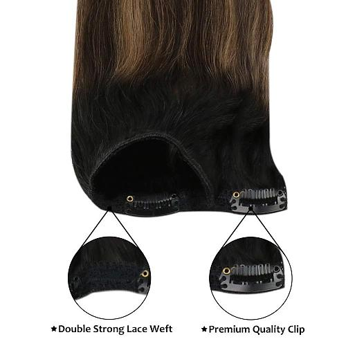 Moresoo Clip in Human Hair Extensions Natural Machine Remy Blonde Brown Silky Straight Double Weft Balayage Ombre