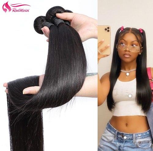RUIMEISI Brazilian Straight Hair Bundles 100% Human Hiar For Women Unprocessed Virgin Human Hair Bundles  Natural Color