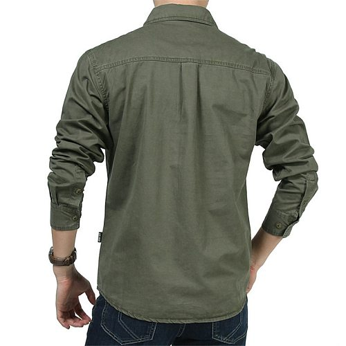 Men's 100% Cotton Hiking Shirt Spring Autumn Outdoor Breathable Long Sleeve Sports Fishing Trekking Tactical Military Shirts 6XL