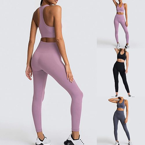 Women Seamless Yoga Sets Gym Sleeveless Workout Suits Sports Bras Padded Leggings Fitness For Ladies Tracksuits  Wear
