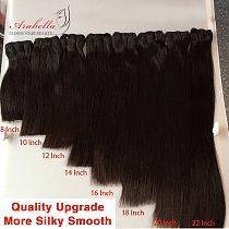Super Double Drawn Virgin Hair Bundles Arabella Brazilian Straight Hair 100% Human Hair Bundles With 4x4 Transparent LaceClosure
