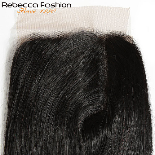 Rebecca Remy Hair 5*6 Lace Closure L Deep Part Lace Closure Malaysia Straight Human Hair Closure With Baby Hair 10-20 Inch