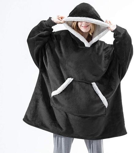 Oversized Hoodie Blanket With Sleeves Sweatshirt Plaid Winter Fleece Hoody Women Pocket Female Hooded Sweat