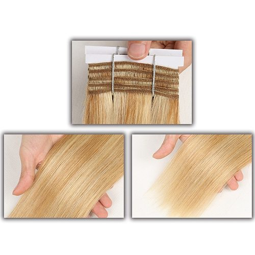 Rebecca Double Drawn Straight Hair P6/613 Blonde P27/613 Brazilian Human Hair Weave Bundles 1 Piece Only Remy Extensions