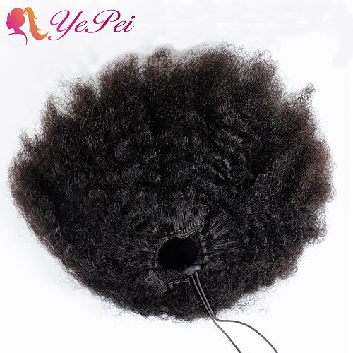 10inch Afro Puff Human Hair Bun Drawstring Ponytail Human Hairpiece Kinky Curly Clip In Extensions Yepei Pony Tail