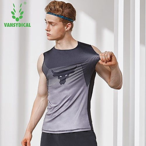 Men's O-Neck Running Training Vests Stretch Gym Tops Printed Fitness Workout Shirts Quick Dry Basketball Tanks