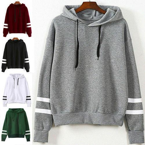 UK Women Ladies Long Sleeve Hooded Hoodies Jumper Pullover Sweatshirt Solid Tops