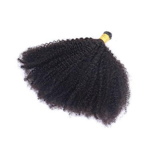 Brazilian Afro Kinky Curly I Tip Microlinks Human Hair Extensions For Black Women Virgin Hair Bulk Natural Black Color