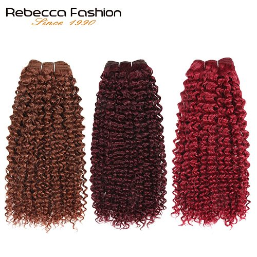 Rebecca Double Drawn 113g Remy Human Hair Brazilian Curly Hair Weave Bundles Ombre Red Brown Auburn Blonde Colors Extensions