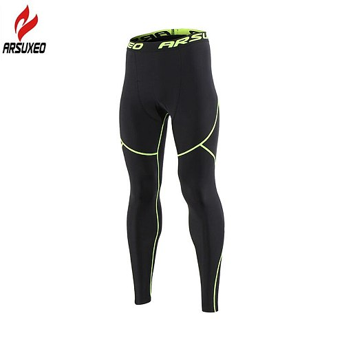 Arsuxeo Winter Warm Thermal Fleece Running Tights Men Gym Fitness Crossfit Football Training Sport Leggings Compression Pants