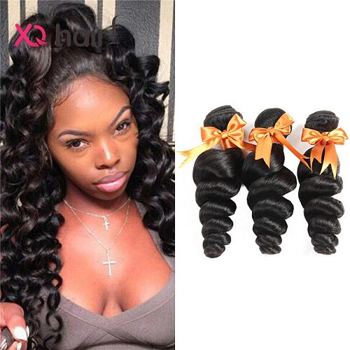 XQ 3 Bundles 100 Human Hair Weave Natural Color Malaysian Loose Wave  Non Remy 8-26 inch Human Hair Extensions