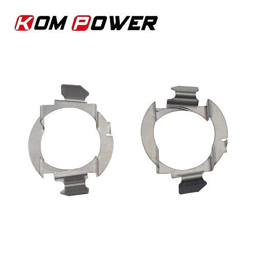 KOM POWER 2Pcs Adaptor Base H7 Led Auto Car Headlamp Bases Metal Socket Retaining Clips