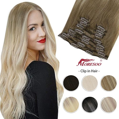 Moresoo Clip In Hair Extensions 14-24 inch Machine Remy Human Hair Brazilian Doule Weft Full Head Set Straight 7Pcs 120G