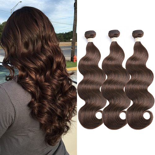 Brown Body Wave Bundles Brazilian Human Hair Bundles Dorisy Remy Brown Hair Extensions  #2 #4 Natural Color