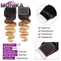 Monika 4x4 Lace Closure Human Hair Brazilian Body Wave Closure T1B #4#27#30 Ombre Blonde Color Dark Root Closures Non-Remy Hair