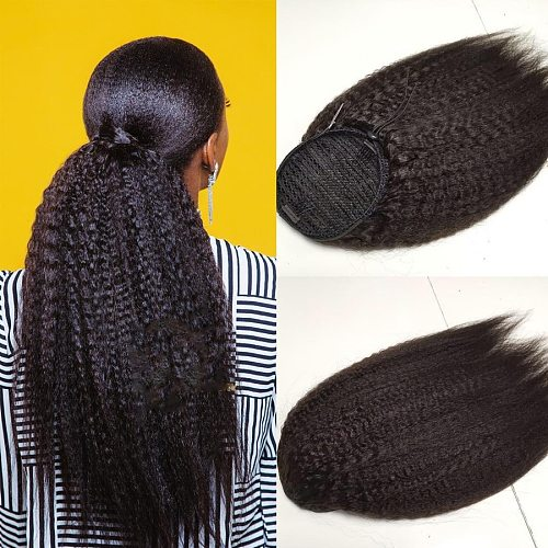 Hair Brazilian Afro Kinky Straight Ponytail Remy Wrap Around Drawstring Ponytail Human Hair Ponytail Extensions Clip Ins Remy