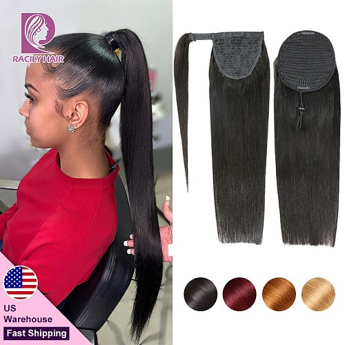 Racily Hair Straight Drawstring Ponytail Human Hair Brazilian Clip In Hair Extensions Remy Ombre Wrap Around Ponytail 4 Colors