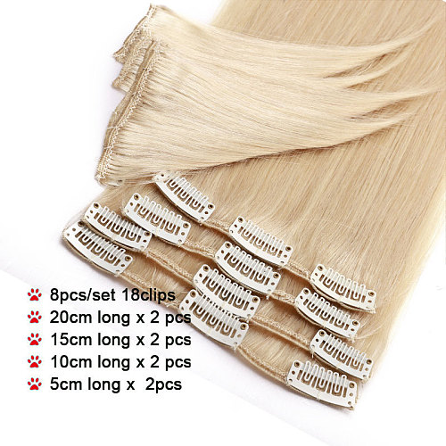 SEGO 10 -24  45g-75g Straight Clip In Human Hair Extensions Thin Tail 8Pc/Set Natural Non-Remy Hair Clip Ins Brazilian Hair
