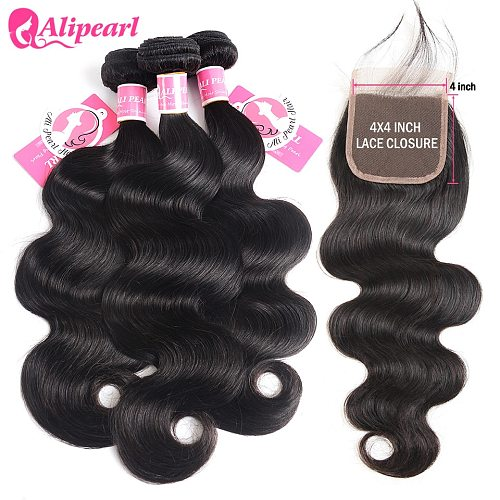 Body Wave Human Hair Bundles With Closure 4x4 Free Part Pre Plucked Brazilian Bundles With Closure Remy Hair Extension AliPearl