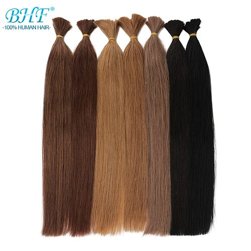 BHF No Weft Human Hair Bulk Machine Made Remy Brazilian Straight Human Braiding Hair Bulk 100g/piece