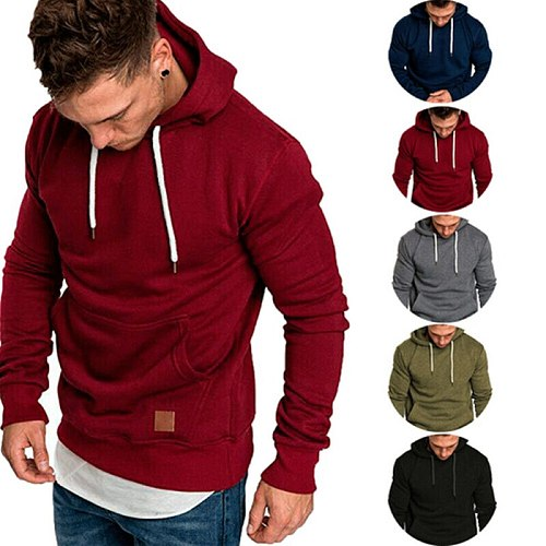 Solid Color Hoodies Men Sweatshirts Rapper Hip Hop Hooded Pullover Sweatershirts Male Clothes For Outdoor Sports Running