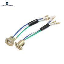 X Autohaux 2 Pcs 3 Wires Motorcycle Scooter Headlight Head Lamps Socket Holder Adapter