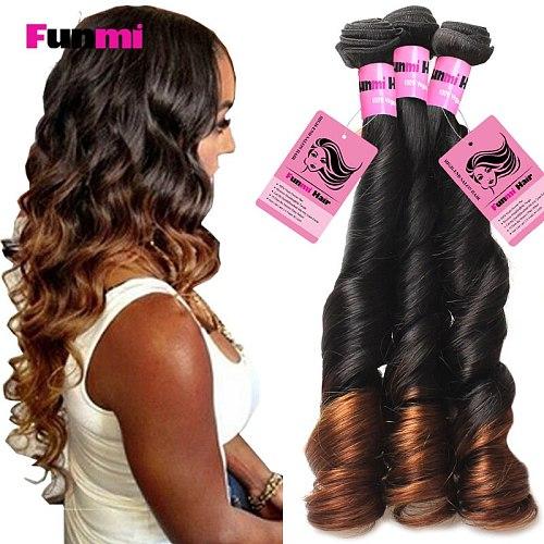 Ombre Brazilian Virgin Hair Bouncy Curly Human Hair Bundles Two Tone Color 1B 4 Medium Brown Ombre Funmi Hair Bundles Salon Hair