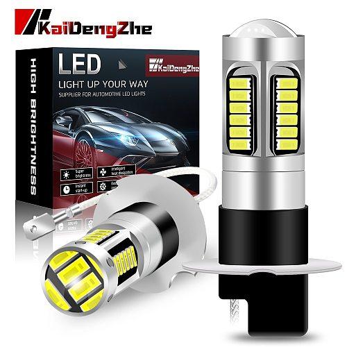 2Pcs Car LED H3 4014 Chips 30 SMD High Power LED Fog Lights With Lens Multiple Color 12V Car Accessories [ 1 Year Warrenty ]