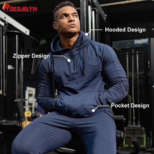 ROEGADYN Man Hoodies Trainning Men Sweatshirts Fitness Hoodies Gym Sweater Sport Running Outdoor Hoodies And Sweatshirts Jogging