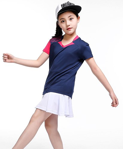 table tennis sportswear,Kid Girl Skirts tenis masculino,polyester fast dry table tennis shirts,Kid badminton SHIRT Suit, XS-3XL