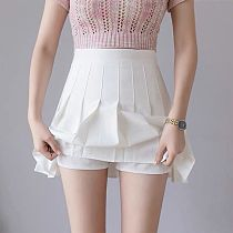 Pleated Tennis Skirt Short Sport Skirts Cheerleader Uniform With Inner Shorts Underpant For Girl Lady Tennis Running Badminton