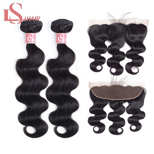 LS HAIR body wave Hair Bundles With Frontal Remy Human Hair Bundles With Closure Brazilian Hair Weave 2 Bundles With frontal