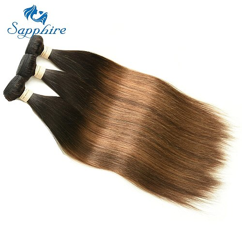 Sapphire Remy Hair 3PCS Extensions #T1B 4 30 Ombre Brown Color Brazilian Straight Remy Hair Bundles Short Hair Ombre Brown