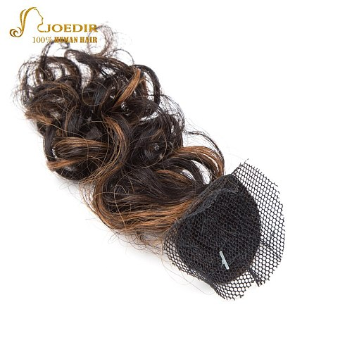 Joedir Pre-colored short water wave bundles with closure 6 Pcs One Pack glam curly Human Hair Bundles Remy Human Hair Extensions