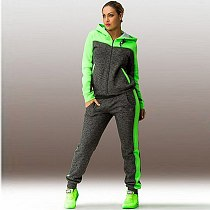 2 Piece Sets Plus Size Solid Women Sport Running Set Loose Hoodies Zippers Long Pant Women Tracksuits Suits