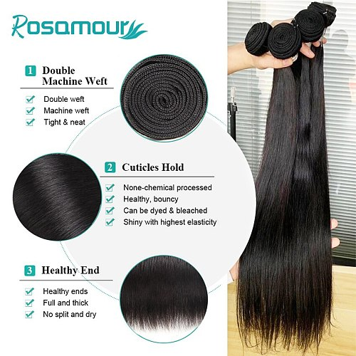 ROSAMOUR Brazilian Hair Weave Bundles Remy Hair Extensions Natural Color 28 30 32 40 Inch Straight Human Hair Bundles Raw Virgin