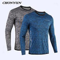2021 New Running Shirt Men's Rashgard Long Sleeve Gym Shirt Sportswear Compression Dry Fit shirts For Men Fitness Sport T-Shirts