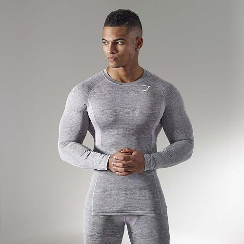 New Men Compression Muscle Sports Long-Sleeved T-shirt Shark Fitness Sweat-Absorbent Loose Quick Dry SpringTraining T-shirt Thin