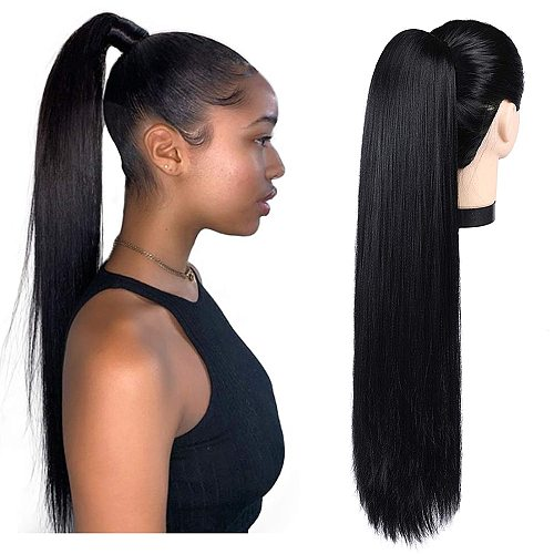 Ponytail Human Hair Straight Human Hair Ponytail Extensions Maxine Wrap Around Drawstring Ponytail Clip in Human Hair Ponytail