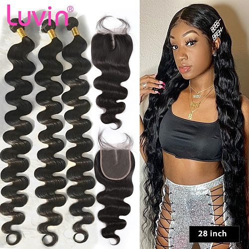 Luvin 28 30 40 inch brazilian hair weave human hair 3 4 bundles with closure body wave and Lace closure weaves free shipping