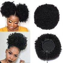 Afro Puff Kinky Curly Ponytail 100% Brazilian Human Hair Drawstring Ponytail With Clps in For Women Natural Black #2 #4 Brown