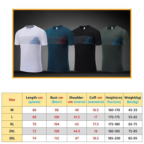 Sport Brand Shirts New Breathable Top Elastic Fitness Quick Dry Short Sleeves Striped Men Fashion Training  2020 Running Tees